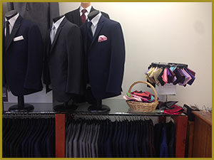 Bonaventure Tuxedo interior store view including handkerchief selection.